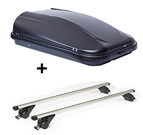 Dachbox JUPRE320 320Ltr schwarz glänzend abschließbar + Dachträger VDPKING1 kompatibel mit Opel/Vauxhall Zafira (C) Tourer (5 Türer) ab 11