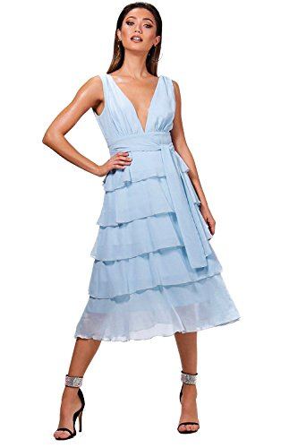 YourPrimeOutlet Sky Womens Elizabeth Plunge Ruffle Midi Dress