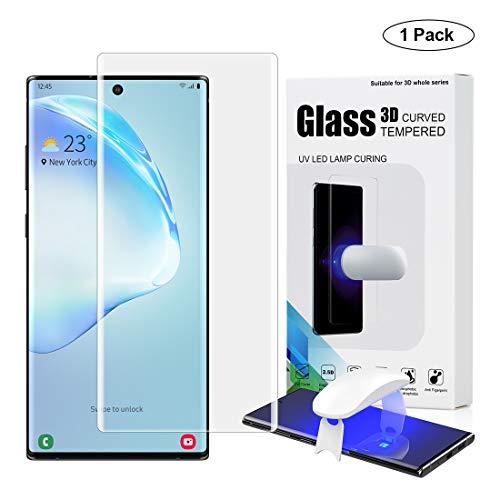 Foluu [1 Pack Galaxy Note 10 Plus Displayschutzfolie, Fingerabdruck-Lesegeräterkennung, Full 3D Gebogene Kantenabdeckung, gehärtetes Glas, blasenfrei, für Samsung Note 10 Plus/Note 10 Plus 5G -