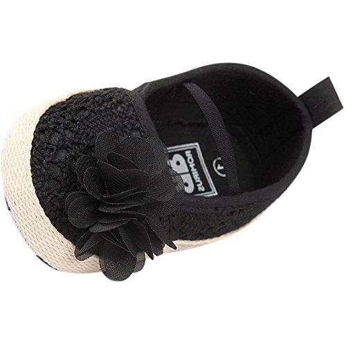 Fire Frog  Baby Mary Jane Shoes, Baby Mädchen Lauflernschuhe Schwarz