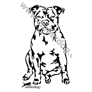 Staffordshire Bull Terrier Dog Wall Sticker Amberdog® – The Original Article Number T0170, Plastic, black, 50 x 30 cm