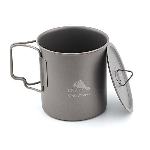 Toaks Cup-450ultraléger extérieur Vaisselle Titanium Mug Poignée pliante Gobelet à eau, With Lid