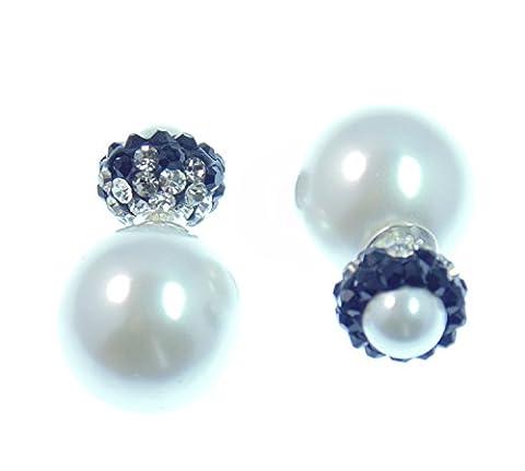 Original LaFemme Tribal Ohrringe, facettierte TruColor Kristalle, große Perle Weiß,