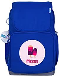 UniQBees Personalised School Bag With Name (Smart Kids Large School Backpack-Blue-Sprinkles)