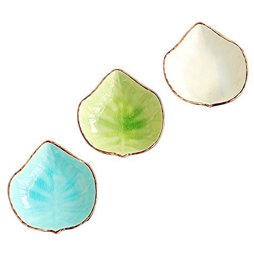 WAIT FLY Lovely Grape Leaves Shaped Ceramics Seasoning Dishes/Tea Bag Holders/Ketchup Saucer/Appetizer Plates/Vinegar Spice Salad Soy Sushi Wasabi Seasoning Dipping Bowls Set of 3 Grape Leaf Dish
