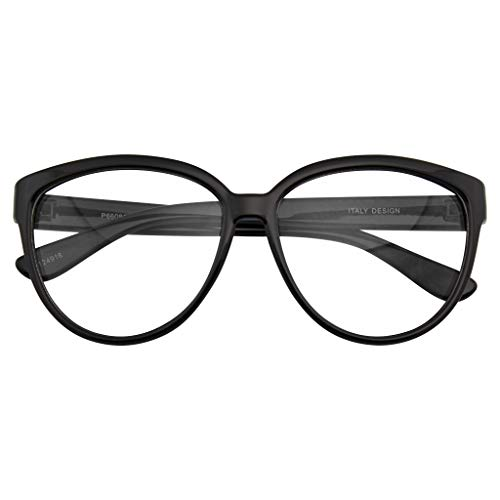 Emblem eyewear - womens oversize retrò nerd prismature moda gatto occhio occhiali geek (nero)