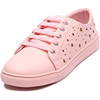 Lockey Women's Pink Small Star Printed Casual Sneakers (41)