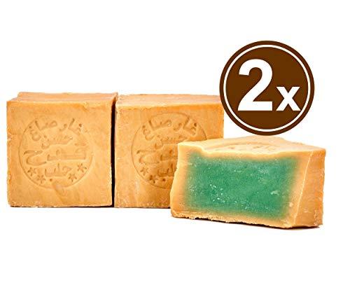 Carenesse original sapone di aleppo 2 x 200 g, 85% di olio d' oliva e 15% di alloro, sapone naturale in realizzato a mano secondo tradizione vecchio ricetta e maturazione lungo tempo