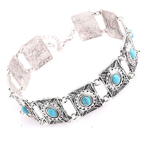 Sungpunet Halskette für Damen und Mädchen, oxidiertes Silber, Modeschmuck, Party, Westernkleidung, Stilvolle Halskette für Damen und Mädchen (Silber) ()
