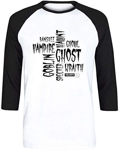 Halloween Words in White - Halloween Herren Weiß Schwarz Baseball T-Shirt 3/4 Ärmel Größe S   Men's White Black Baseball T-Shirt Size S