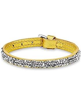 s.Oliver Damen-Armband Let's Celebrate Swarovski Rocks Edelstahl Leder Kristall silber 51594