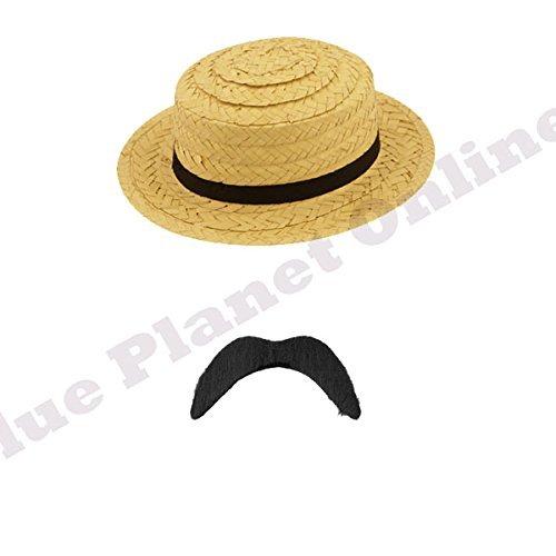 Mens 1920s 20s Victorian Bathing Straw Boater Hat & Black Tash Fancy Dress by Blue Planet Online ()