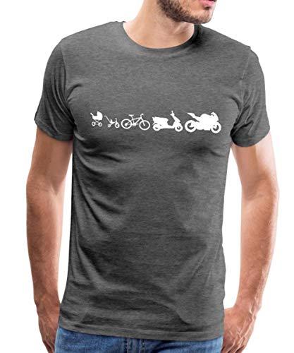 Spreadshirt Evolution Motorrad Biker Roller Fahrrad Kinderwagen Männer Premium T-Shirt, XXL, Anthrazit