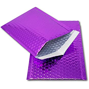 10 Purple Metallic Bubble Wrap Lined Padded Mailing Gift Envelope Bag A4 Size
