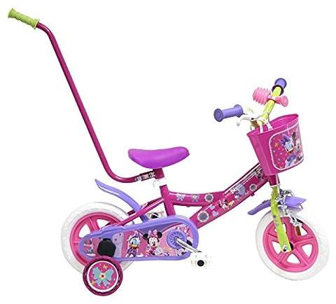 """Disney Minnie Mouse Vélo Enfant Rouge 10"""" avec Canne"""