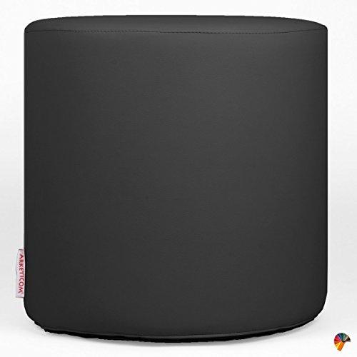 Arketicom chill pouf poggiapiedi rotondo ecopelle sfoderabile puff nero 35x35