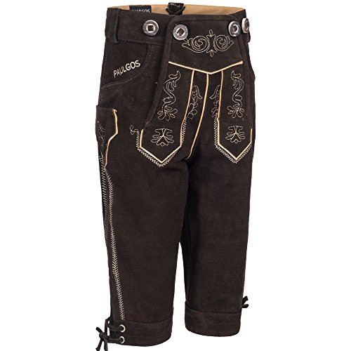 PAULGOS Kinder Trachten Lederhose + Träger, Echtes Leder, Kniebund in 2 Farben Gr. 86-164, Farbe:Dunkelbraun, Kindergröße:104