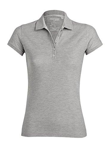 Damen Poloshirt Aus 95% Biobaumwolle und 5% Elastan, Poloshirt Damen Baumwolle (Bio), Damen Polo-Piqué Bio, Polo Shirts Bio, Damen Polohemd Bio (M, Heather Grey)