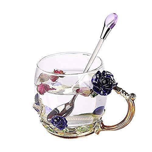 Becher, Kaffeetasse (Crystal Clear Glass Tea Cups) für Valentinstag (Birthday Wedding)@Blaue Rose Rose Crystal Tea Rose