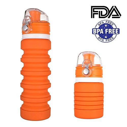 Bottiglia pieghevole,maltsky bottiglia in silicone pieghevole,bottiglia sportiva portatile,bottiglia da viaggio flessibile riutilizzabile 350~500ml,anti-perdita,senza bpa e per alimenti,adatta per viaggi sportivi all'aperto