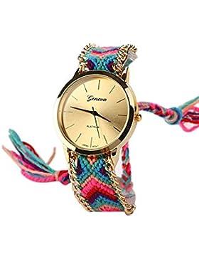 GENEVA Damen Geflochtene Kette Armbanduhr (Modell 10)