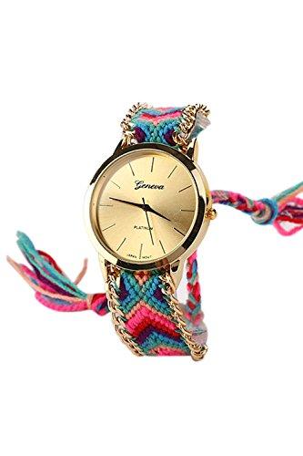 Reloj - GENEVA Reloj de pulsera de cadena trenzada de mujer (Modelo 10)