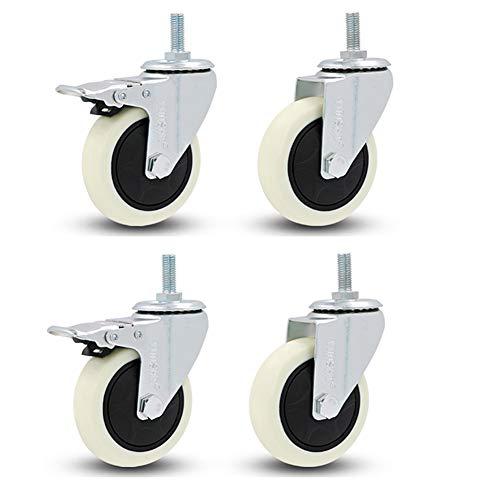 casters Rollen_4 x Heavy Duty 300kg 75mm Lenkrolle 3-Zoll-Mute-Laufrolle weiß mit Bremsenrolle mit flachem Laufrad, Traglast 300kg -