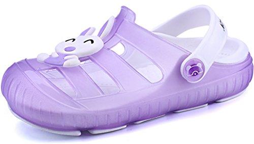 Gaatpot Kinder Clogs Pantoletten Mädchen Jungen Sandalen Slip on Outdoor Flach Hausschuhe Geschlossene Strand Sandale Schuhe Sommer Violett 22