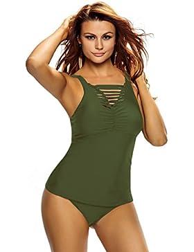 Nuovo donne verde spacco increspato Tank top Tankini set costumi da bagno Beachwear estate taglia S UK 8–10...