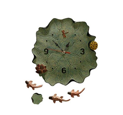 (PLYY Kreative Neue Chinesische Dekoration Wanduhr Stumm Wohnzimmer Home Schlafzimmer Batterie Uhren Lotus Fisch Wand Einfache, 002)