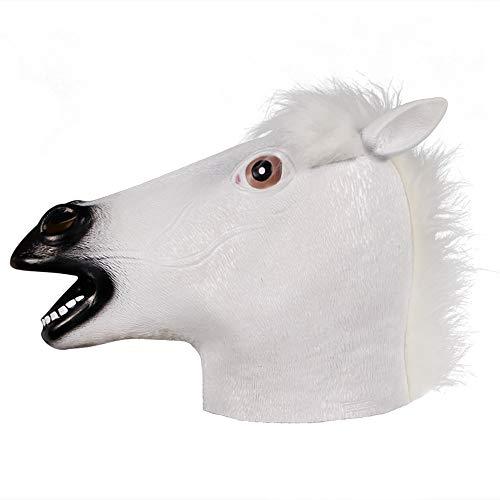Weißes Kostüm Pferd - molezu Pferdemaske für Halloween Maske Latex Tiermaske Erwachsene Pferdekopf Pferd Kostüm für Weihnachten Party Dekoration