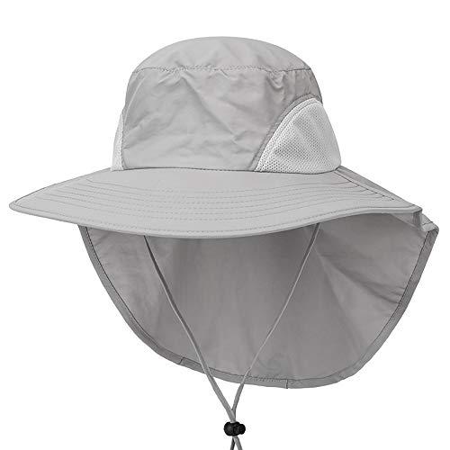 Outdoor Angeln Hut mit Neck Flap Cover breiter Krempe Sun Cap für Männer Frauen Jagd, Wandern, Camping, Bootfahren,LightGray -