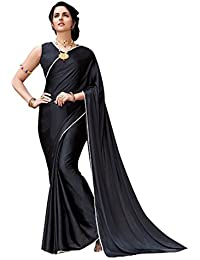 Craftsvilla Women's Satin & Silk Embellished Designer Black Saree With Blouse Piece