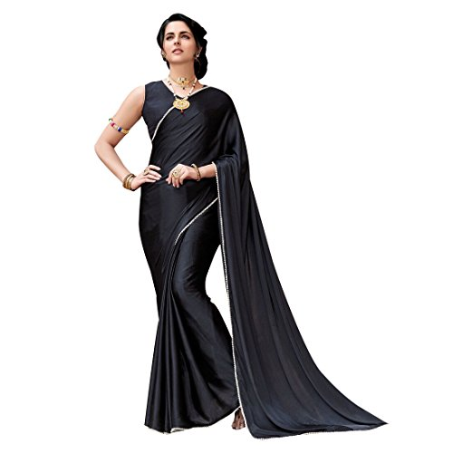 Craftsvilla Women's Satin & Silk Embellished Designer Black Saree with blouse piece