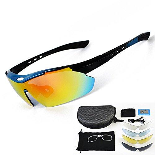 Sport-Sonnenbrille für Männer, Frauen, polarisierte UV400-Schutz unzerbrechliche Brille, Radfahren Reiten Fahren Angeln Golf Baseball und andere Outdoor-Aktivitäten, 5 Linsen ( Color : BLUE )