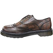 borchie shoes francesine man's casual Niadi uomo inglesine Scarpe marrone ecopelle AxFnOAq40