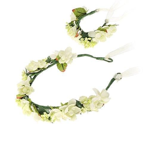 kranz Blumenstirnband Blumenkrone Haarkranz Strand-Accessoires Hochzeit Festival Braut (Kommunion Schleier)