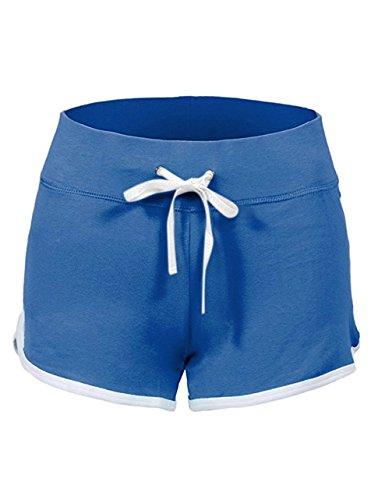 SWISSWELL Damen Sport Shorts Kurze Hosen Baumwolle Yoga Athletik Tanzen Shorts Fitness Hot Pants Hipster Workout, mit leichtem Figur formenden Effekt Hell Blau XL