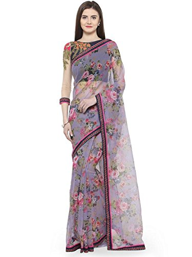 Shaily Retails Women'sMultiColor Net Printed Sarees (RASHI0826SSSR001T_Multi)