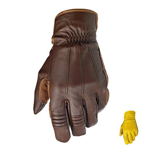 Biltwell Leder-Motorradhandschuhe, Retro-Look, Herren, braun (Wildleder-handschuhe Rindsleder)