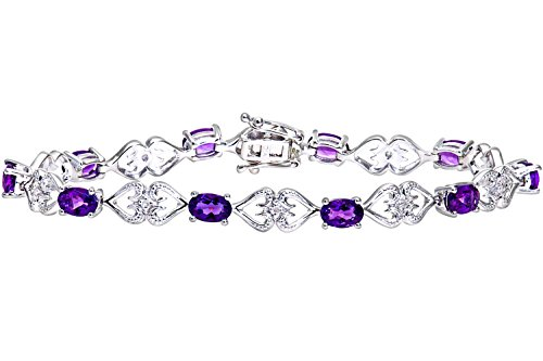 Naava Women's 9 ct White Gold Amethyst and Diamond Set Hearts Link Bracelet
