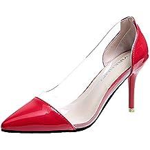 Aisun Femme Elégant Chaussures à Talon Haut Basse Transparent Fille Bal  Escarpins 05b914853fb4