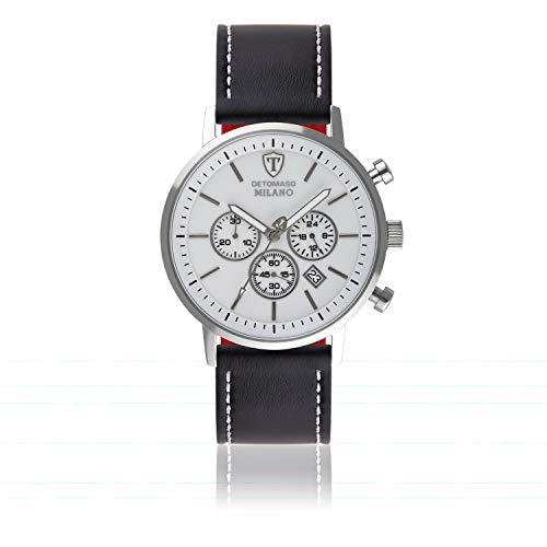 DETOMASO Milano XL Herren-Armbanduhr Chronograph Analog Quarz Edelstahlgehäuse - Jetzt mit 5 Jahre Herstellergarantie (Leder Schwarz - Weiß)