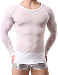 QHGstore Hombres camiseta de manga larga Malla de lencería Sheer Transparent Shirt Primavera Otoño Weiß M