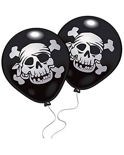 Horror-Shop Piraten Luftballons mit Totenkopf 10 St. für Kindergeburtstag & Halloween -