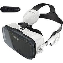 """3D VR Lunettes, Virtoba X5 Casque Réalité Virtuelle 3D avec Bluetooth télécommande Remote controller pour les phones 4.0""""-6.0"""" Android IOS Windows, comme iPhone 7/7 plus/6s/5s, Samsung Galaxy S6/note 5, ASUS Zenfone 2 etc"""