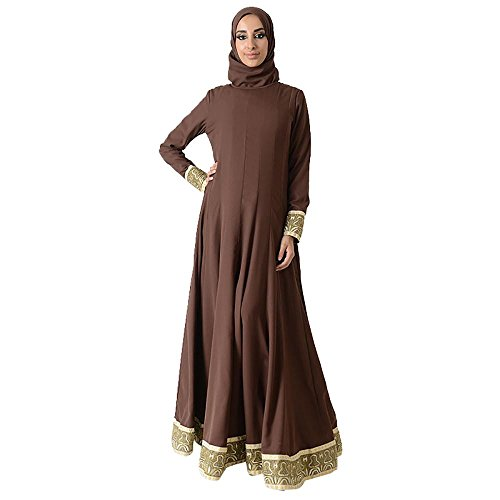 Gold Trim Flared Eid Abaya Dress+Hijab