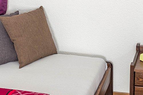 Massivholzbett / Gästebett Kiefer Vollholz massiv Nussfarben A10, inkl. Lattenrost - Abmessung 140 x 200 cm - 6