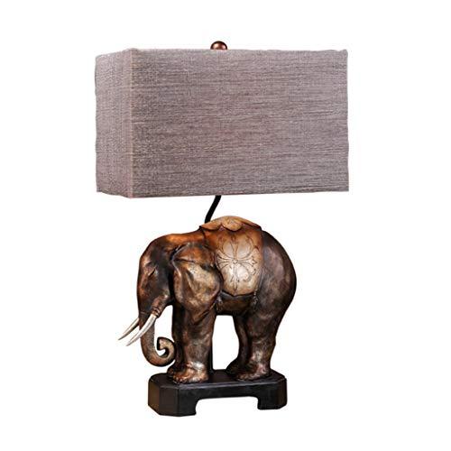 Lámpara de Cabecera Europeo Retro Elefante Lámpara de mesa Dormitorio Lámpara de cabecera Sala de estar americana Lámpara de mesa creativa Tres modos de interruptor están disponibles Lámpara de Mesa