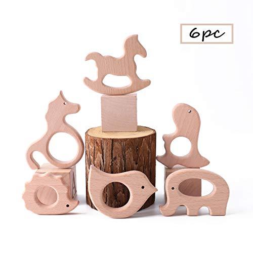 Best for baby 6PC Bebé dientes Juguetes Natural Colgante Beech Madera regalo DIY Collar de madera Juguetes de inteligencia
